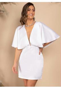 Vestido Branco Curto Com Decote Profundo