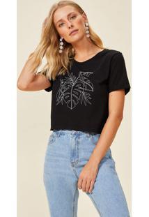 Amaro Feminino T-Shirt Folhagem Monocromática, Preto