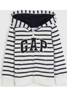 Jaqueta Gap Infantil Listrada Off-White/Azul-Marinho