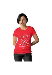 Camiseta Feminina Ezok Respect Vermelho