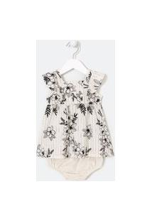 Vestido Infantil Estampa Floral - Tam 0 A 18 Meses   Teddy Boom (0 A 18 Meses)   Branco   3-6M