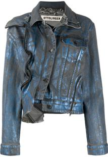Ottolinger Double Collar Asymmetric Denim Jacket - Azul