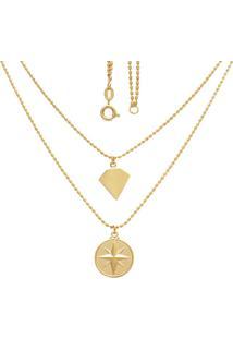 Gargantilha Prata Mil Dupla Com Diamante Liso E Estrela Rosa Dos Ventos Dourado