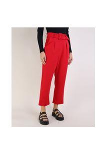 Calça Feminina Cintura Alta Com Cinto Vermelha