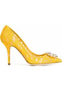 Dolce & Gabbana Scarpin De Renda - Amarelo