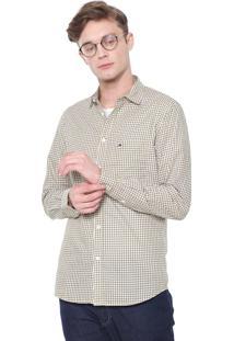 Camisa Tommy Jeans Slim Quadriculada Amarela/Azul-Marinho