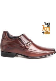 Sapato Social Masculino Couro Bico Quadrado Aumenta Altura - Masculino-Mogno