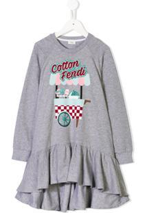 Fendi Kids Vestido 'Fendi' - Cinza