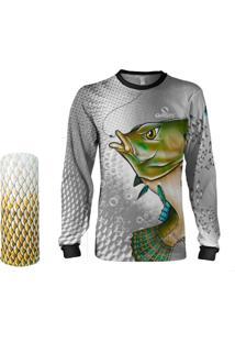 Camisa + Máscara Pesca Quisty Tilápia Bocuda Cinza Proteção Uv Dryfit Infantil/Adulto - Camiseta De Pesca Quisty