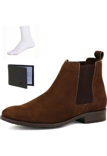 Bota Chelsea Boots Botina Confortável Escrete Couro 771N Café Com Brinde - Kanui