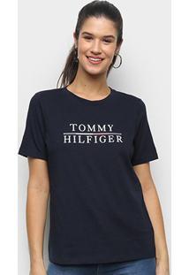 Camiseta Tommy Hilfiger Básica Logo Feminina - Feminino-Marinho