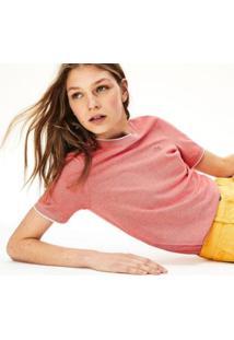 Camiseta Lacoste Feminina - Feminino-Vermelho+Off White