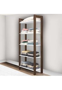 Guarda-Roupa Closet 5 Prateleiras 65 Cm Az1005 Branco/Nogal - Tecno Mobili