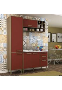 Cozinha Compacta 3 Peças 5 Portas Vitória Siena Móveis Avelã Tx/Rubi
