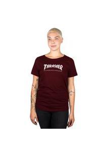 Camiseta Thrasher Magazine Skate Mag Feminina Bordô
