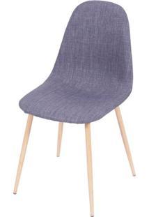 Cadeira Robin Linho Jeans Azul Base De Metal Com Pintura De Madeira - 43060 Sun House