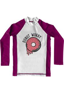 Camiseta De Lycra Comfy Donut Worry Rosa