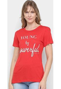 Camiseta Colcci Powerful Feminina - Feminino-Vermelho