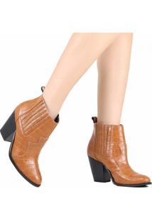 Bota Ankle Boot Zariff Western Animal Print Chelsea Marrom