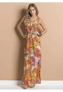 Vestido Longo Floral Com Elástico Na Cintura