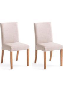 Conjunto Com 2 Cadeiras De Jantar Filipeta Creme E Castanho