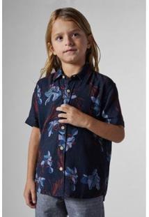 Camisa Mini Sm Mc Lirios Infantil Reserva Mini Masculina - Masculino