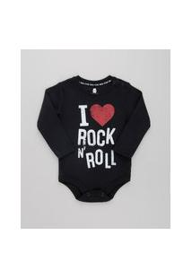 "Body Infantil I Love Rock N' Roll"" Manga Longa Decote Redondo Preto"""