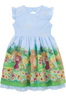 Vestido Libelinha Fantasia Masha E O Urso Azul