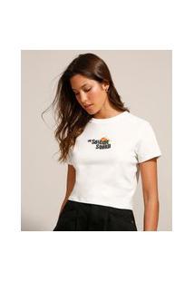 Camiseta Cropped Esquadrão Suicida Manga Curta Decote Redondo Off White
