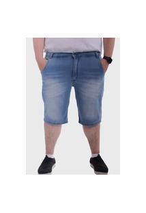 Bermuda Jeans Plus Size Mega Premium Médio Lavado Masculino - Azul Médio