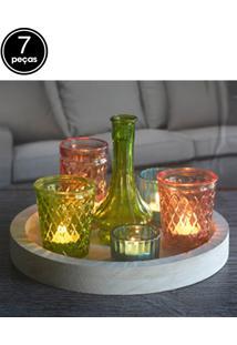 Kit Castiçal 7Pçs Urban Round Cute Glass Branco