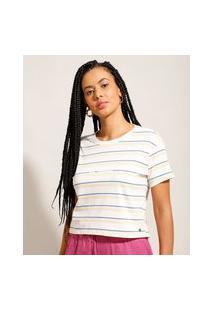 "Camiseta Cropped Listrada Be Good"" Manga Curta Decote Redondo Multicor"""