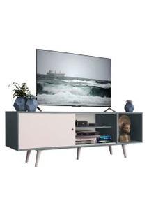 Rack Madesa Dubai Para Tv Até 65 Polegadas Com Pés Cinza/Branco F709 Cor:Cinza/Branco