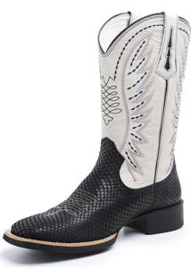 Bota Fidalgo Boots Country Tela Preta Marfim
