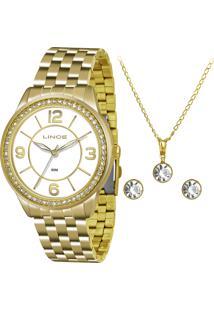Kit De Relógio Analógico Lince Feminino + Brinco + Colar - Lrg4340L Kt04B2Kx Dourado
