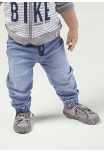 Calça Jeans Moletom Bebê Menino Com Cós Em Elástico Hering Kids