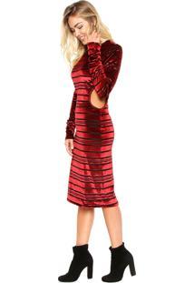 Vestido Ellus Midi Veludo Stripes Vermelho