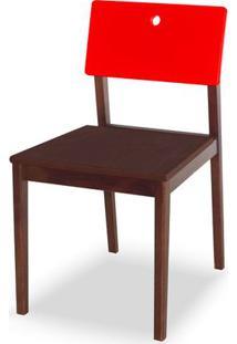 Cadeira Flip Cor Cacau Com Encosto Vermelho - 30843 - Sun House