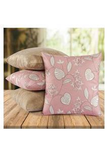 Kit 04 Almofadas Decorativas Com Capa 40Cm X 40Cm Tecido Suede - Rosê