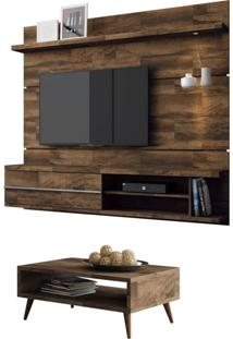 Painel Tv Épic Com Mesa De Centro Lucy Deck - Hb Móveis Marrom