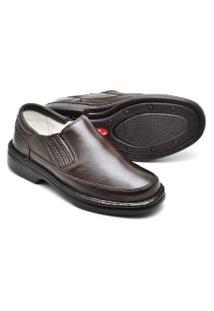 Sapato Ortopédico Masculino Tamanho Especial Em Couro Indicado Para Diabéticos Café 2009