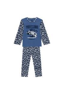 Pijama Juvenil Abrange Estampa Carro Que Brilha No Escuro Azul E Azul Marinho Abrange Casual Azul