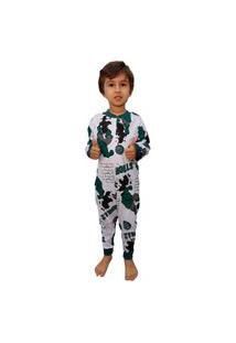 Pijama Infantil Macacão Hulk Menino 100% Algodão 10 Ao16 Branco