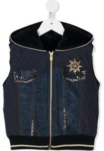 Lapin House Colete Com Recorte Jeans - Azul
