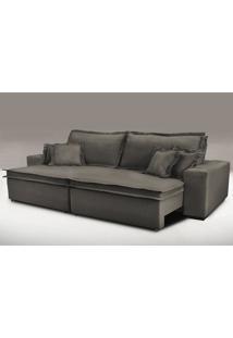 Sofa Retrátil E Reclinável Com Molas Cama Inbox Premium 2,52M Tecido Em Linho Marrom