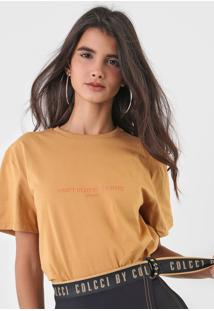 Camiseta Colcci Lettering Caramelo - Caramelo - Feminino - Algodã£O - Dafiti