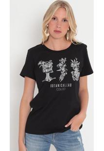 """Camiseta """"Botanicallab""""- Preta & Branca- Colccicolcci"""