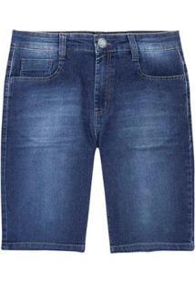 Bermuda Jeans Hering Slim Elastano Masculina - Masculino-Azul