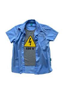Camisa Infantil Menino Jokenpô Cambraia 220V Azul