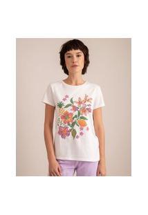 Camiseta De Algodão Ponto Cruz Flores Manga Curta Decote Redondo Branca